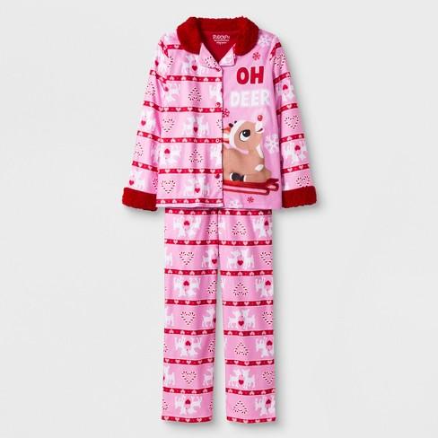 1e9075b5ef3c Girls  Rudolph The Red-Nosed Reindeer 2pc Pajama Set - Pink   Target