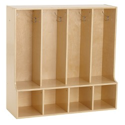 """ECR4Kids 4-Section Classroom Locker with Bench 