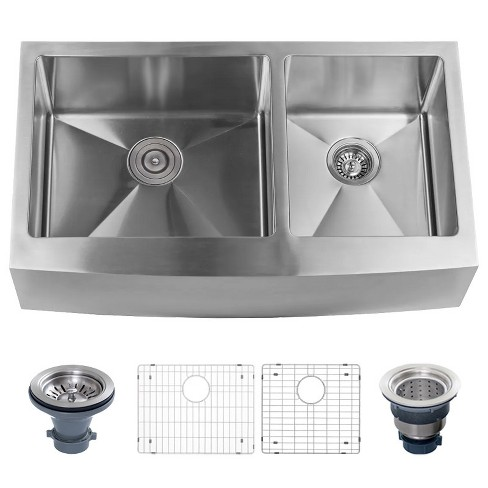 Miseno Mss3320f6040 Farmhouse 33 Double Basin Stainless Steel Kitchen Sink