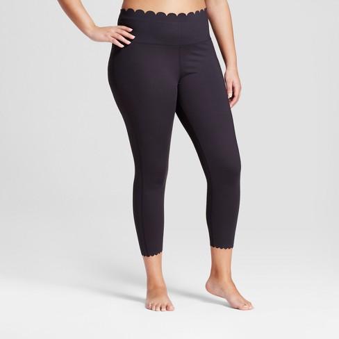 Women's Plus Premium Lightweight High-Waisted Scalloped Leggings - JoyLab™ Black - image 1 of 2