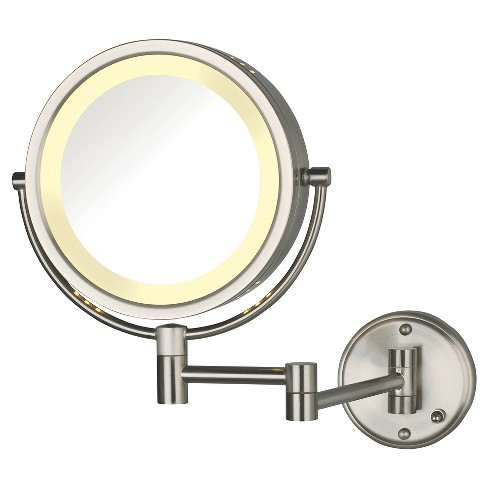 Jerdon 8x 1x Direct Wire Halo Lighted Wall Mount Mirror Extends 135