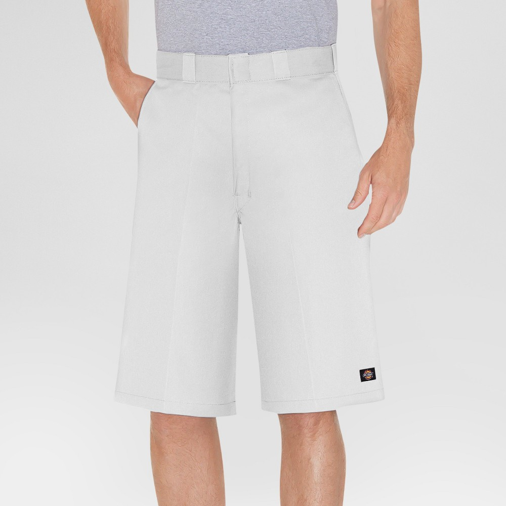 Dickies Men's Loose Fit Twill 13 Multi-Pocket Work Shorts- White 38