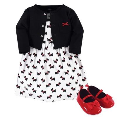 Hudson Baby Infant Girl Cotton Dress, Cardigan and Shoe 3pc Set, Scottie Dog