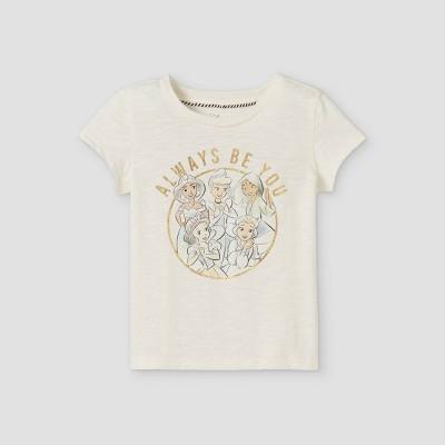 Toddler Girls' Disney Princess Always Be You Cap Sleeve Graphic T-Shirt - Off-White
