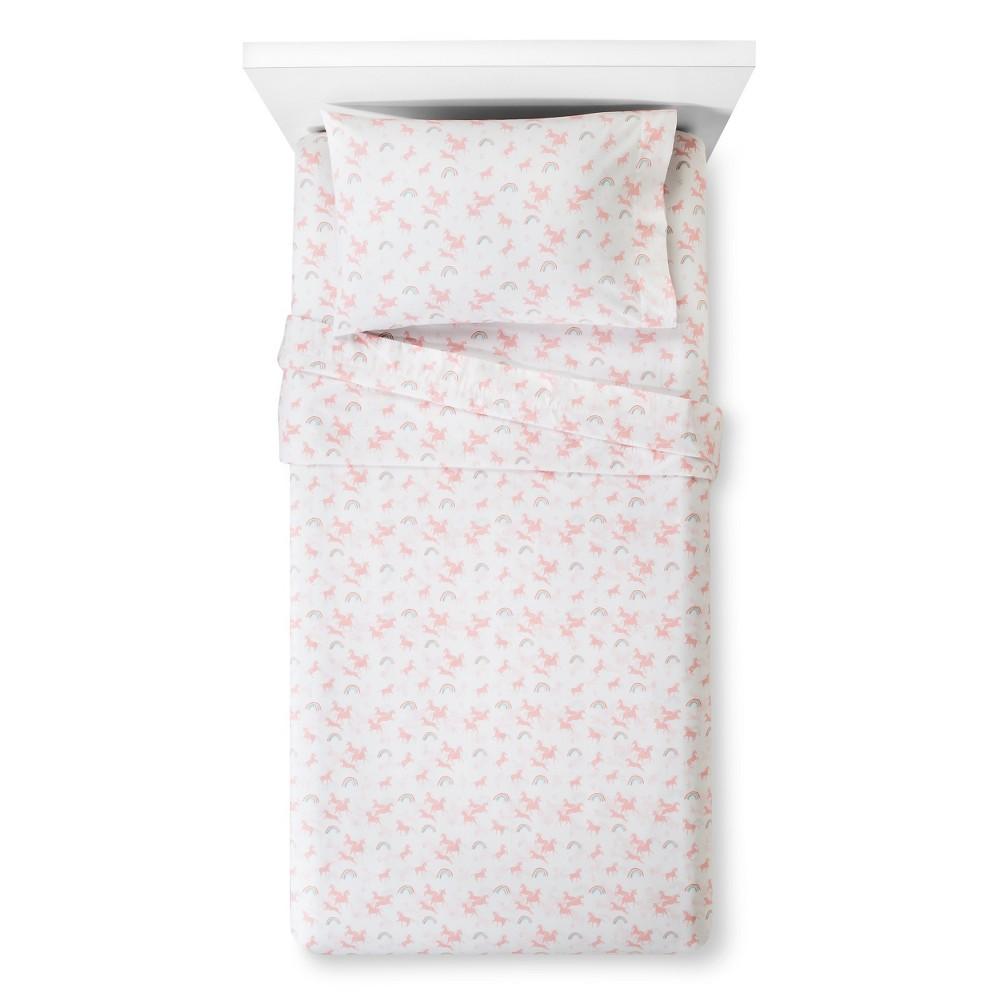 Unicorns Printed 100% Cotton Sheet Set (Toddler) Pink 3pc - Pillowfort