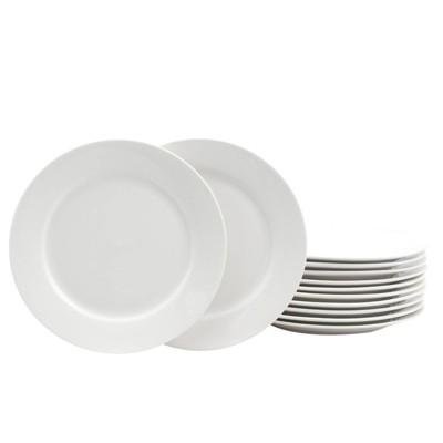 """Gibson Home 7.5"""" 12pk Ceramic Noble Court Dessert Plates White"""