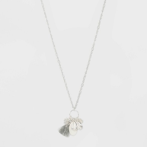 Channel and Tassel and Oval and Two Shells Long Necklace - A New Day™ - image 1 of 3