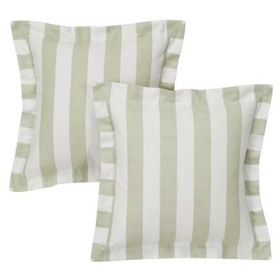 White&Linen Cabana Stripe Throw Pillow Cover (16 x16 )2pc - Simply Shabby Chic®