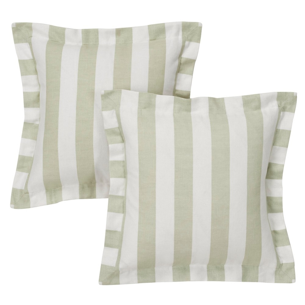 White&Linen Cabana Stripe Throw Pillow Cover (16x16) 2pc - Simply Shabby Chic