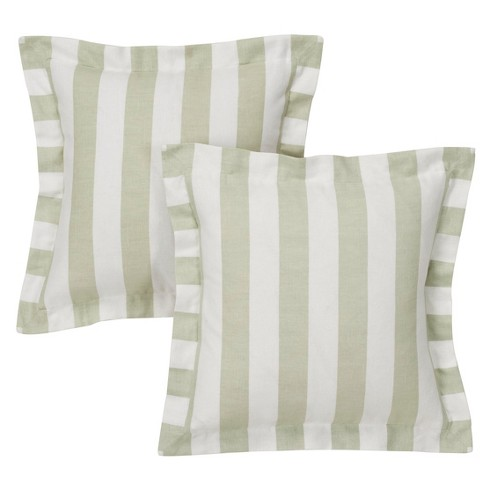 """White&Linen Cabana Stripe Throw Pillow Cover (16""""x16"""") 2pc - Simply Shabby Chic® - image 1 of 1"""