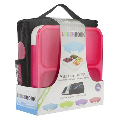 SmartPlanet Red Ultra Thin Lunchbook with Insulated Bag and spork