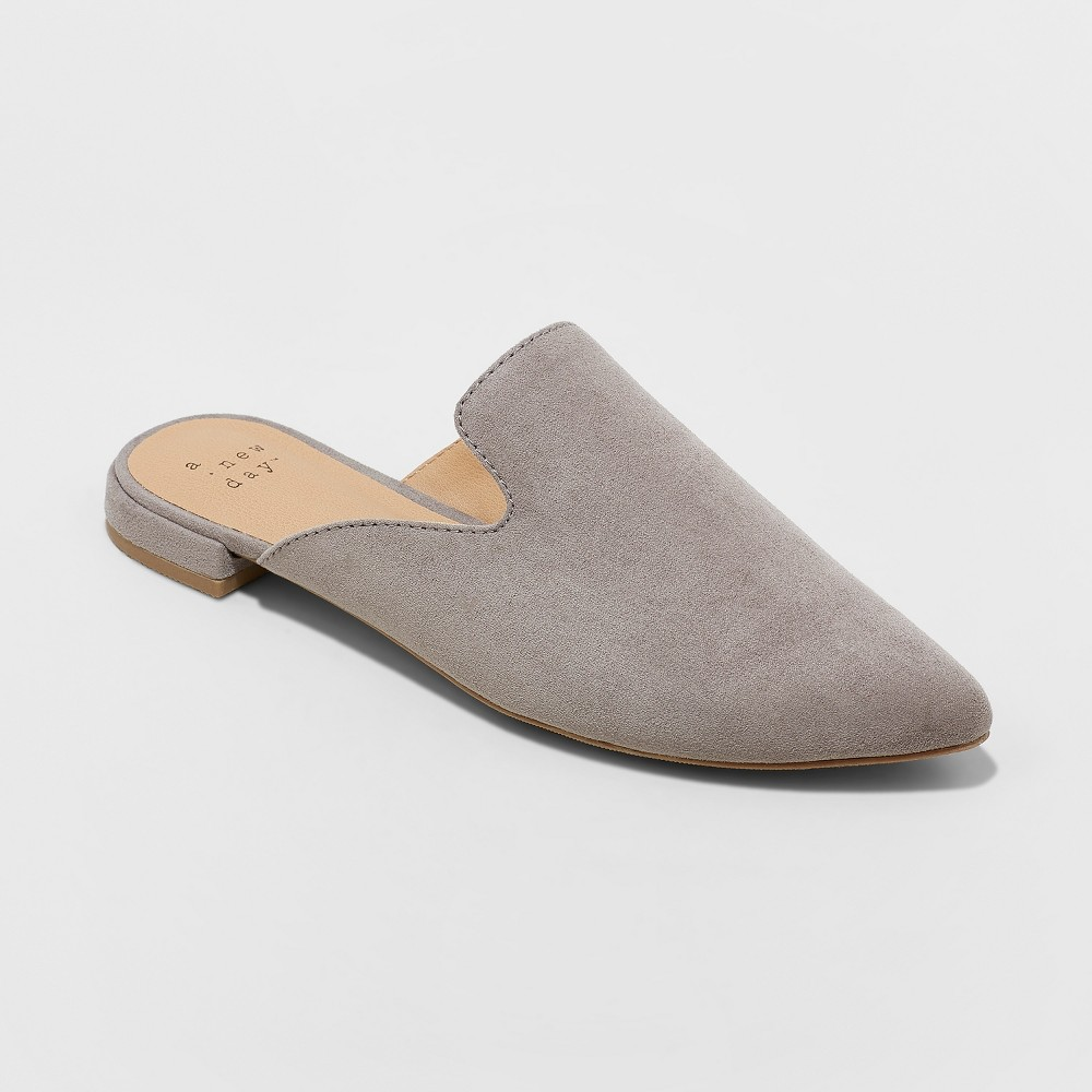 Women's Velma Pointed Toe Backless Mules - A New Day Gray 8