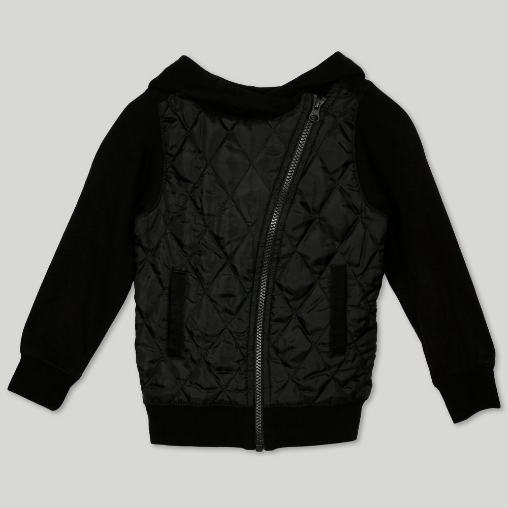 Image of Afton Street Toddler Girls' Quilted Hooded Jacket - Black 12M, Girl's