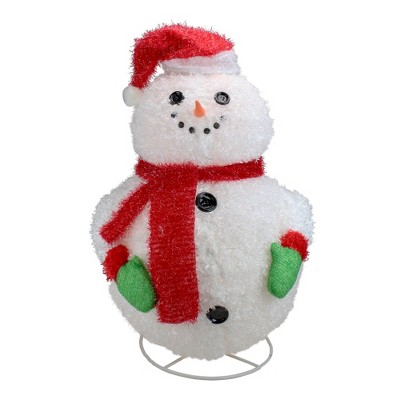 """Penn 24"""" Pre-Lit Red and White 3-D Jolly Winter Snowman Collapsible Outdoor Christmas Decor"""