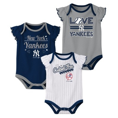 New York Yankees Girls' Bodysuit 3pk - 0-3M