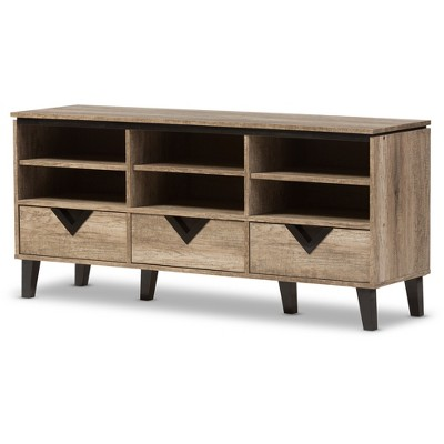 Wales Modern and Contemporary 55  TV Stand - Light Brown - Baxton Studio