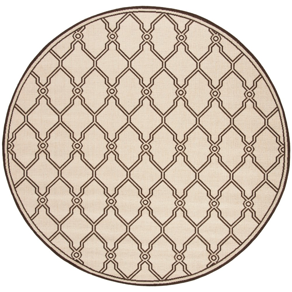 67 Round Geometric Loomed Area Rug Natural/Brown - Safavieh Cheap