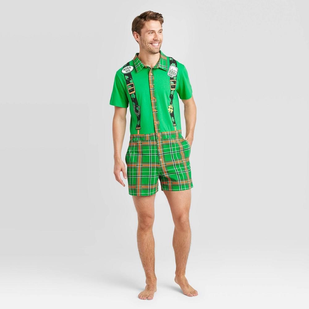 Image of Men's Pajama Romper - Green XL, Men's