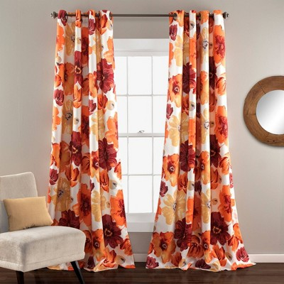 Set of 2 Leah Grommet Top Room Darkening Curtain Panels - Lush Décor