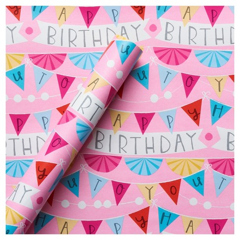 Gift Wrap Pink Happy Birthday