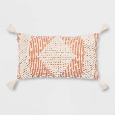 Lumbar Textured Diamond Throw Pillow Blush - Opalhouse™