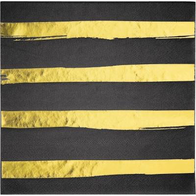 16ct Foil Striped Napkins Black