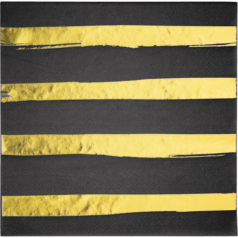 Image of 16ct Creative Converting Black and Gold Foil Striped Napkins, Multi-Colored
