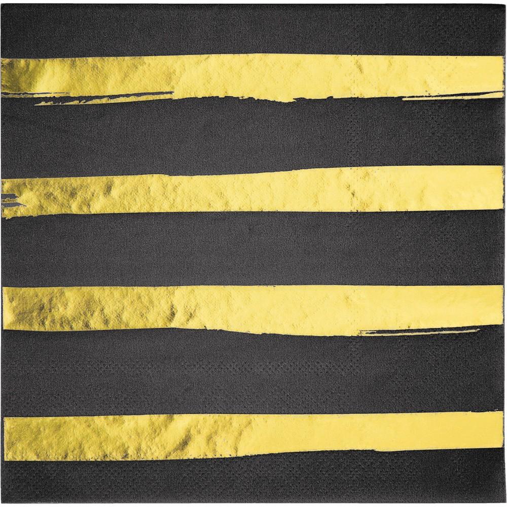 16ct Creative Converting Black and Gold Foil Striped Napkins, Multi-Colored