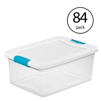 Sterilite 15-Quart Clear Stackable Latching Storage Box Container (84 Pack)