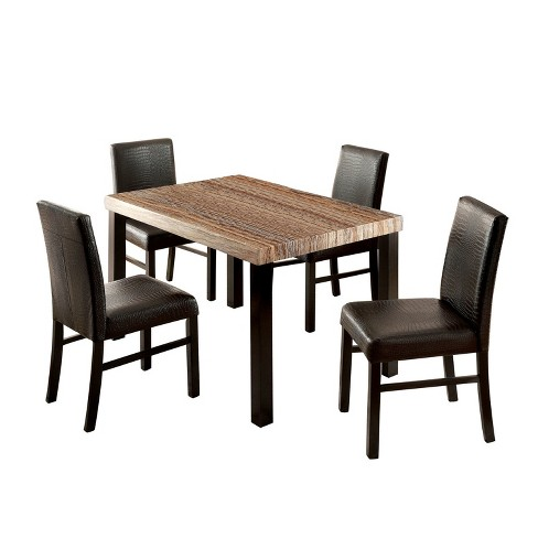 Iohomes 5pc Colorful Faux Marble Top Dining Table Set Wood Black