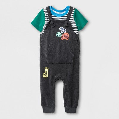 Baby Boys' 2pc Bodysuit and Terry Overall Set - Cat & Jack™ Charcoal 0-3M