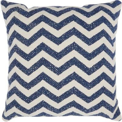 Life Styles Printed Chevron Oversize Square Throw Pillow Navy - Nourison