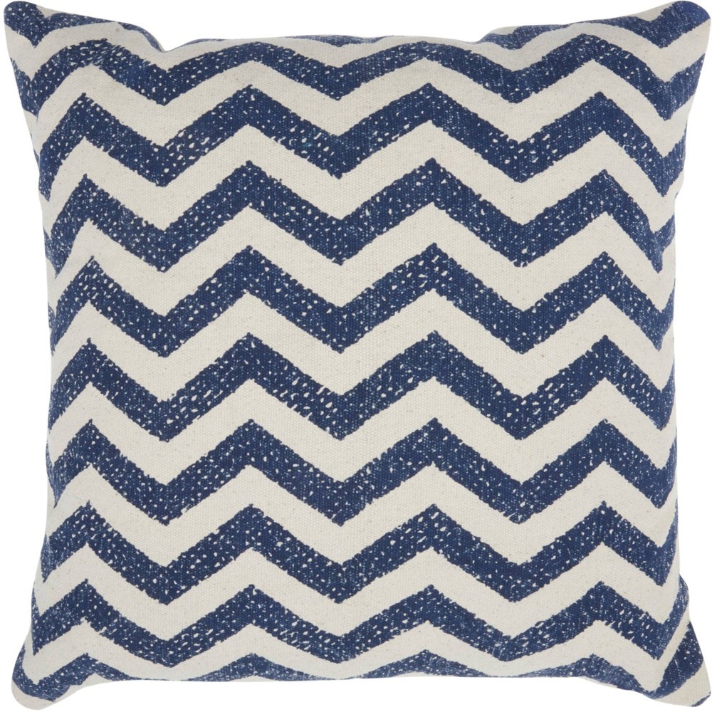 Image of Life Styles Printed Chevron Oversize Square Throw Pillow Navy - Nourison