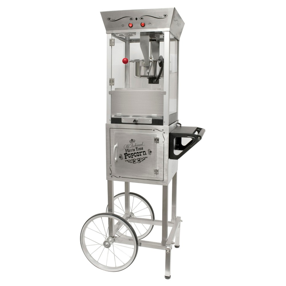 Nostalgia Vintage Collection Kettle Popcorn Cart - Stainless Steel SPC700SS, Silver