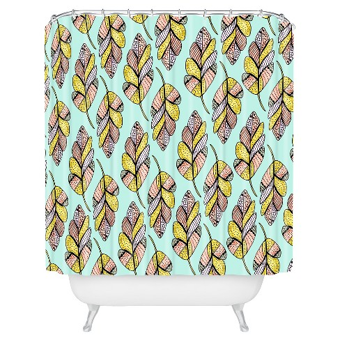 Allyson Johnson Native Feathers Shower Curtain Yellow