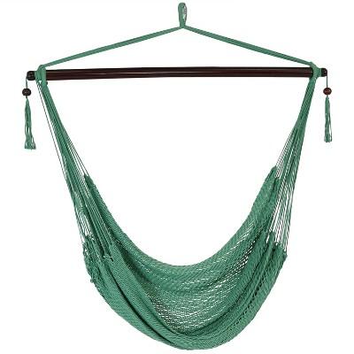 Hanging Caribbean XL Hammock Chair - Jungle Green - Sunnydaze Decor