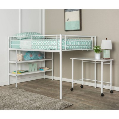 Twin Premium Metal Low Loft Bed with Desk - Saracina Home