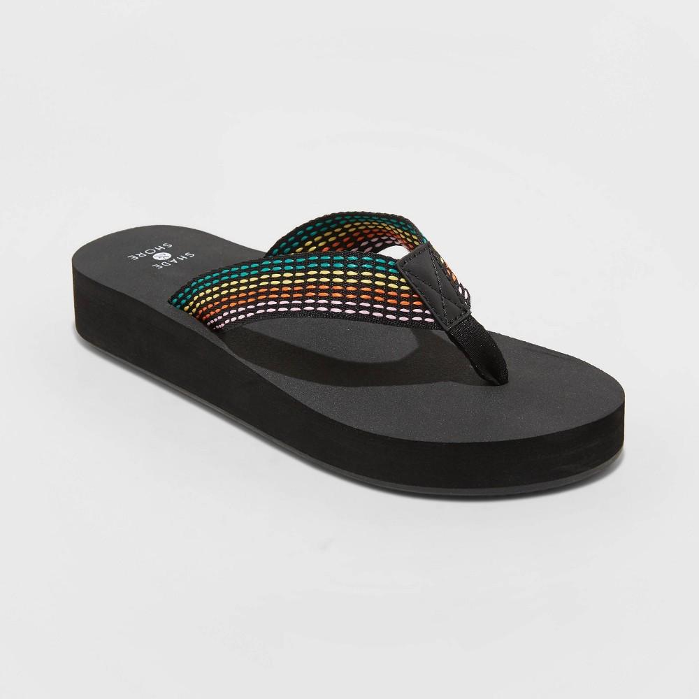 Women 39 S Ariana Platform Flip Flop Sandals Shade 38 Shore 8482 Black 12
