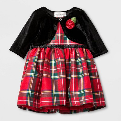 Mia & Mimi Baby Girls' Plaid Cardigan Jacket Dress Set - Red/Black 3-6M