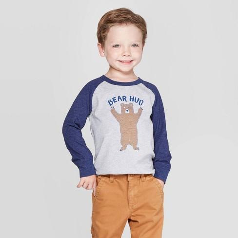 OshKosh B'Gosh Toddler Boys' Bear Hug Long Sleeve T-Shirt - Gray/Navy - image 1 of 3