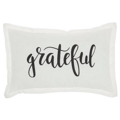 """12""""x20"""" 'Grateful' Throw Pillow White - Kathy Ireland Home"""