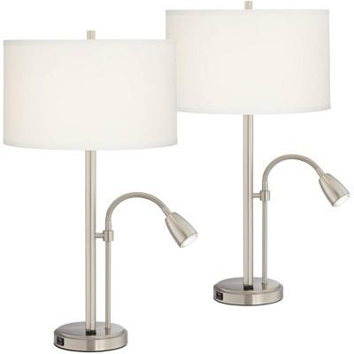 Possini Euro Design Modern Table Lamps Set of 2 with USB Port LED Gooseneck Brushed Nickel White Drum Shade Living Room Bedroom