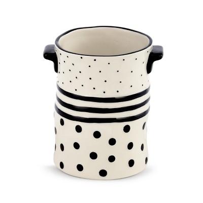 DEMDACO Black Dots and Stripes Crock White