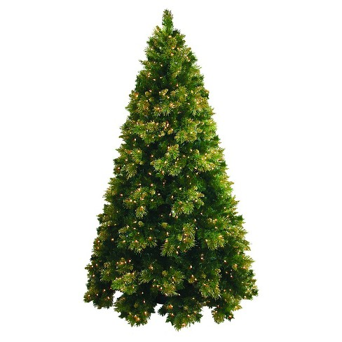 7ft pre lit artificial christmas tree full gold tip cashmere clear lights
