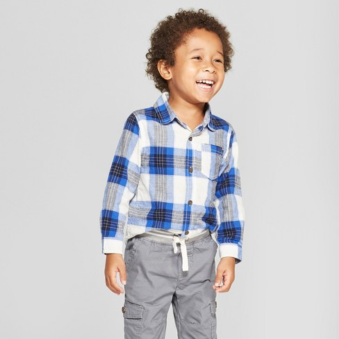 54f3aace22736 Toddler Boys  Long Sleeve Button-Down Shirt - Cat   Jack™ Blue White ...