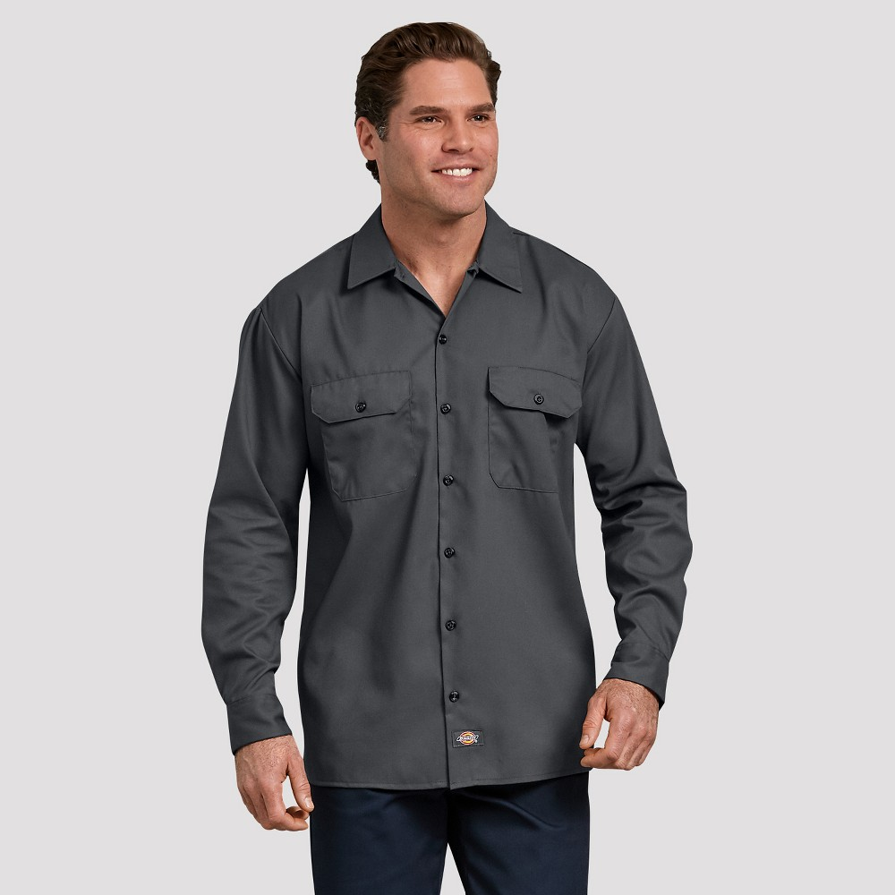 Dickies Men's Relaxed Fit Long Sleeve Button-Down Shirt - Gray XL