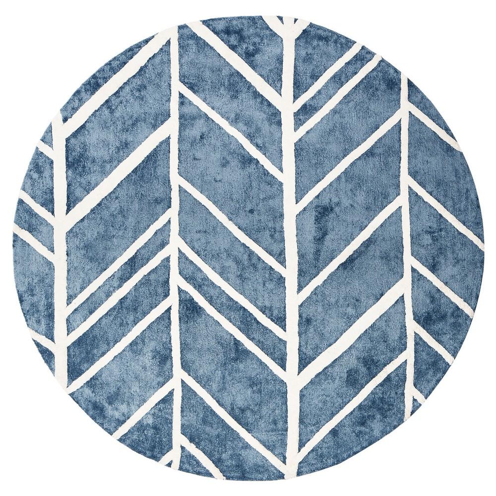 Blue Shapes Tufted Round Area Rug - (6') - Anji Mountain