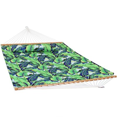 2-Person Quilted Printed Fabric Spreader Bar Hammock and Pillow - Exotic Foliage - Sunnydaze Decor