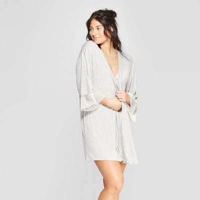 Women's Beautifully Soft Lace Trim Robe - Stars Above™ Gray M/L