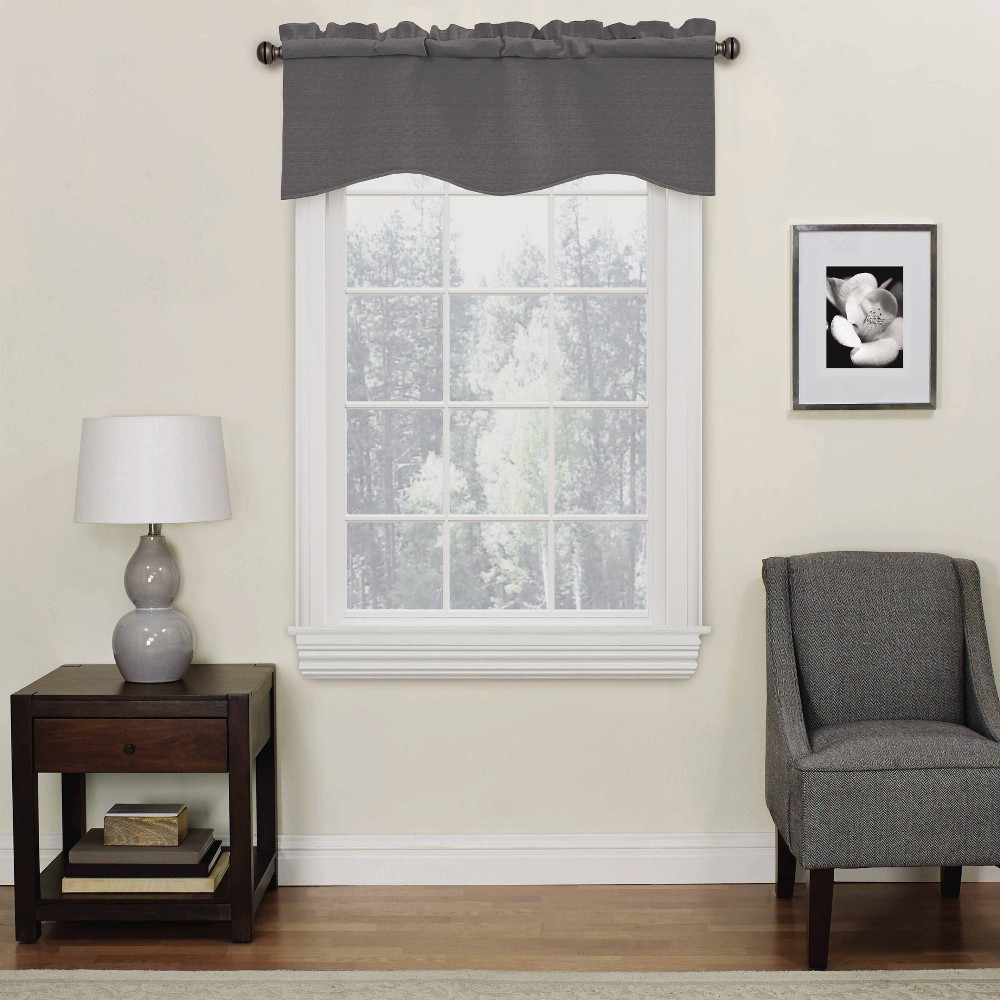 Image of 42x18 - Kendall Thermaback Blackout Valance Charcoal (Grey) - Eclipse
